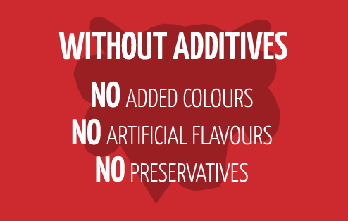 Without Additives - no added colours no artificial flavours no preservatives